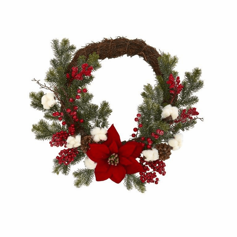 19� Poinsettia with Berries and Cotton Artificial Wreath -