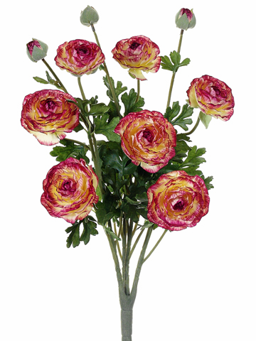 "19"" Ranunculus Bush with 7 Flowers and 3 Buds - Set of 6"