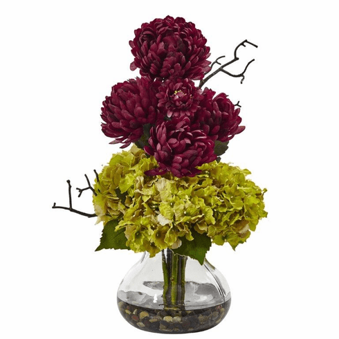 "19"" Silk Hydrangea Flower and Mum Arrangement in Vase - Green Burgundy"