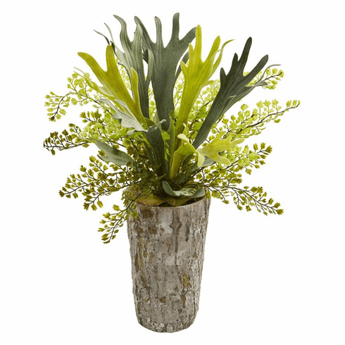 "19"" Staghorn and Maiden Hair Fern Artificial Plant in Weathered Vase"