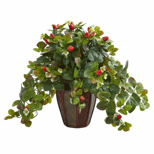 "19"" Strawberry Artificial Plant in Decorative Planter"