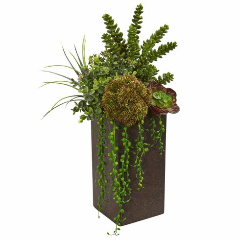 "19"" Succulent Artificial Plant in Brown Planter"