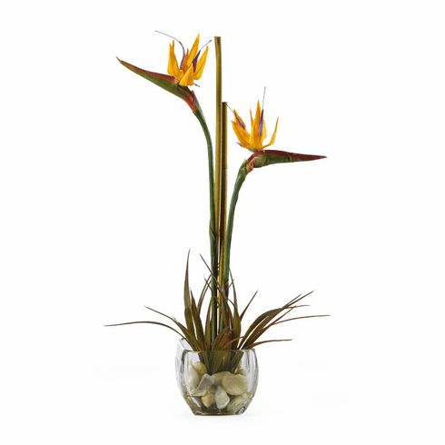 "19"" Tropical Bird of Paradise Liquid Illusion Silk Arrangement"