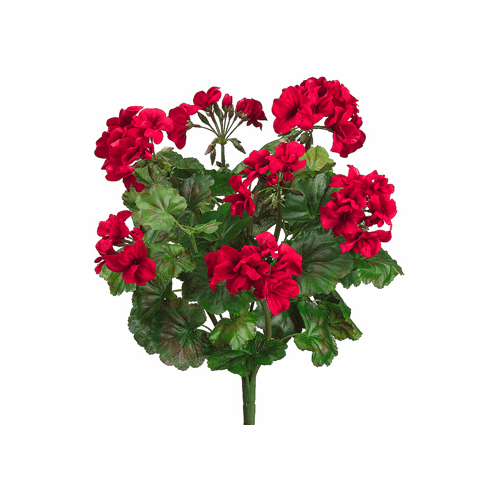 "19"" Water-Resistant Artificial Geranium Bush with 9 Vines - Set of 6 bushes"