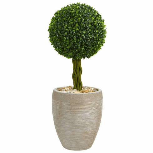 2.5' Boxwood Ball Topiary Artificial Tree in Sand Colored Oval Planter UV Resistant (Indoor/Outdoor)