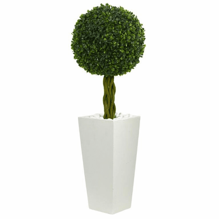 2.5� Boxwood Ball Topiary Artificial Tree in White Tower Planter UV Resistant (Indoor/Outdoor)