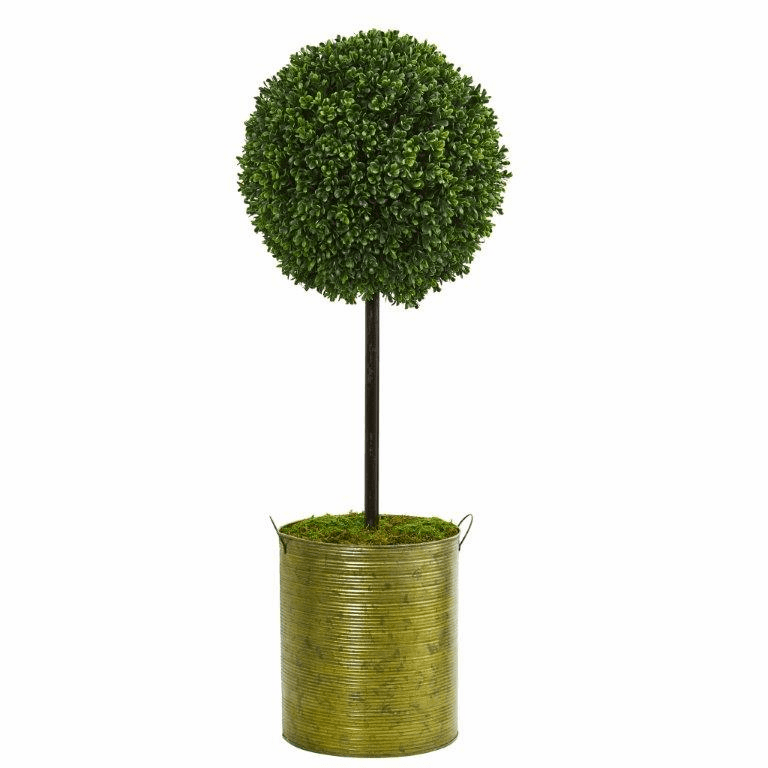 2.5� Boxwood Topiary Artificial Tree in Green Tin UV Resistant (Indoor/Outdoor)