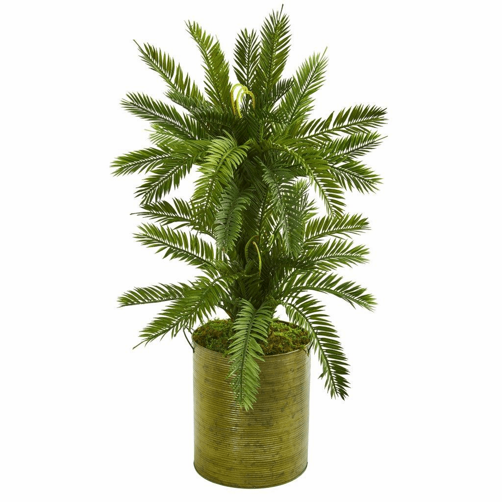 2.5� Double Cycas Artificial Plant in Metal Planter