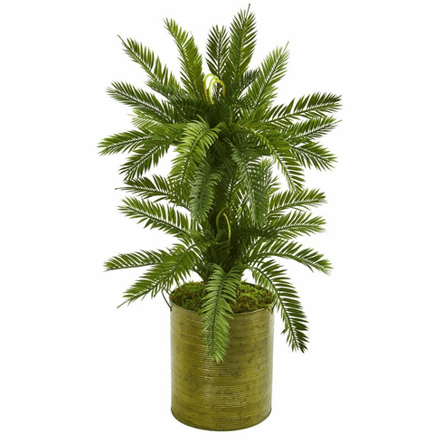 2.5' Double Cycas Artificial Plant in Metal Planter