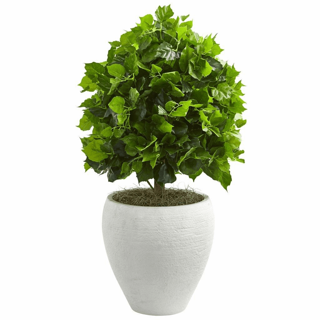 2.5� Ficus Artificial Tree in White Planter