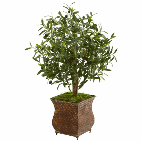 2.5' Olive Artificial Tree in Metal Planter