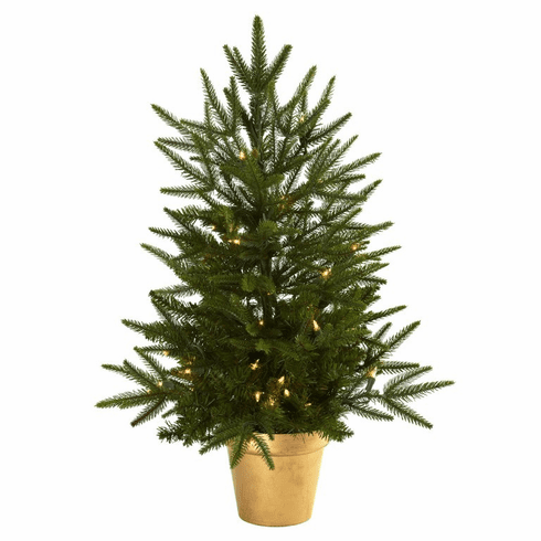 2.5' Pre Lit Christmas Tree in Gold Planter