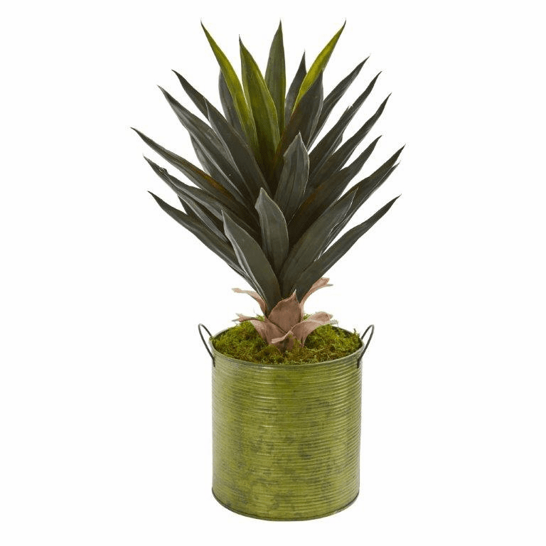 2' Agave Artificial Plant in Metal Planter
