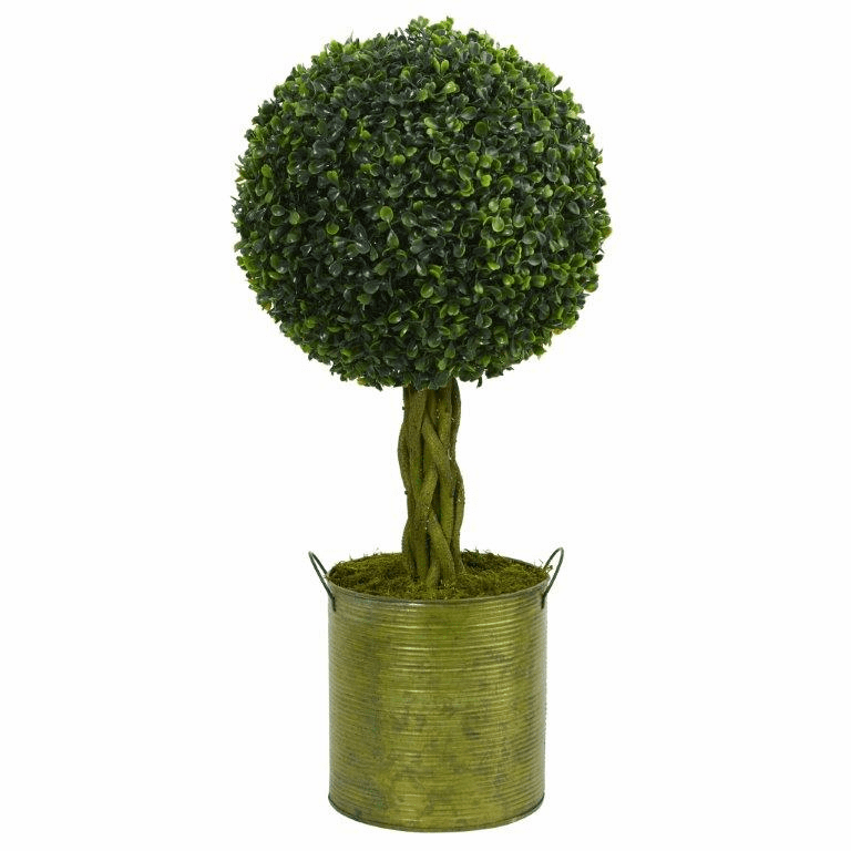 2� Boxwood Ball Topiary Artificial Tree in Green Tin UV Resistant (Indoor/Outdoor)