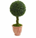 2� Boxwood Ball Topiary Artificial Tree in Terracotta Planter UV Resistant (Indoor/Outdoor)