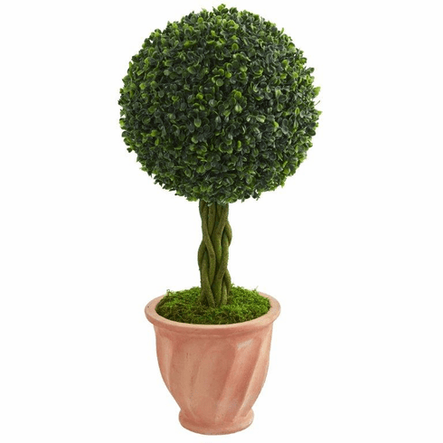 2' Boxwood Ball Topiary Artificial Tree in Terracotta Planter UV Resistant (Indoor/Outdoor)