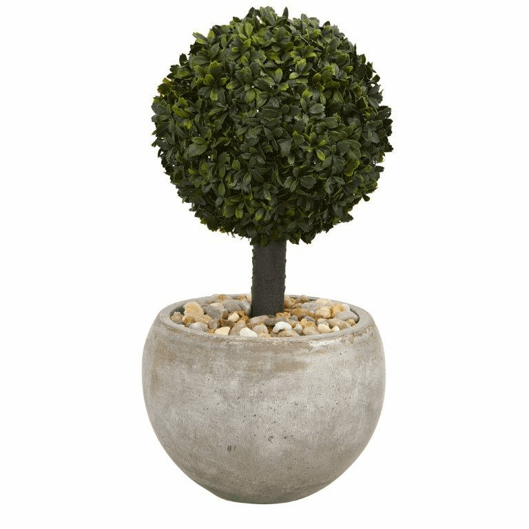 2� Boxwood Topiary Artificial Tree in Sand Colored Bowl (Indoor/Outdoor)