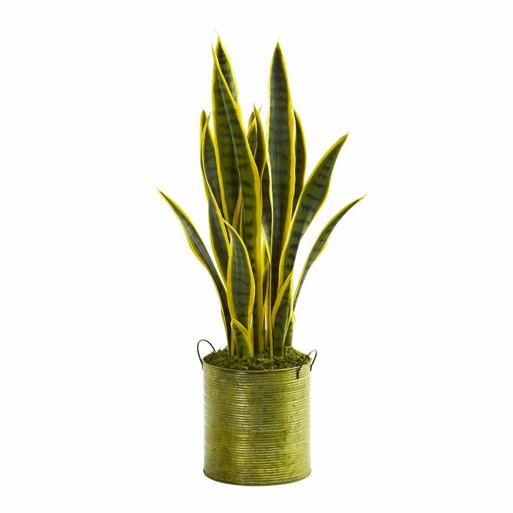 2� Sansevieria Artificial Plant in Metal Green Planter