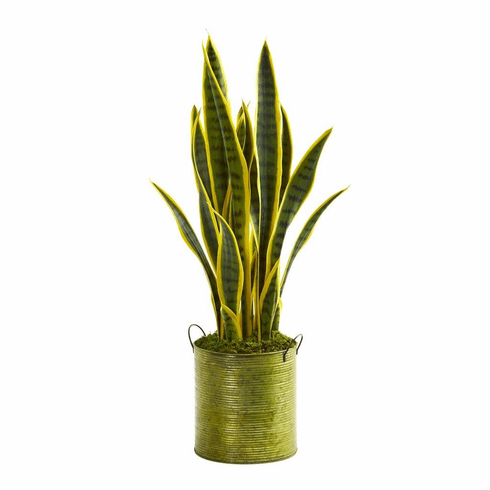 2' Sansevieria Artificial Plant in Metal Green Planter