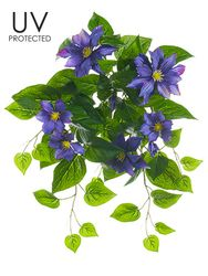 "20.5"" UV Protected Clematis Artificial Flower Bush - Set of 6"