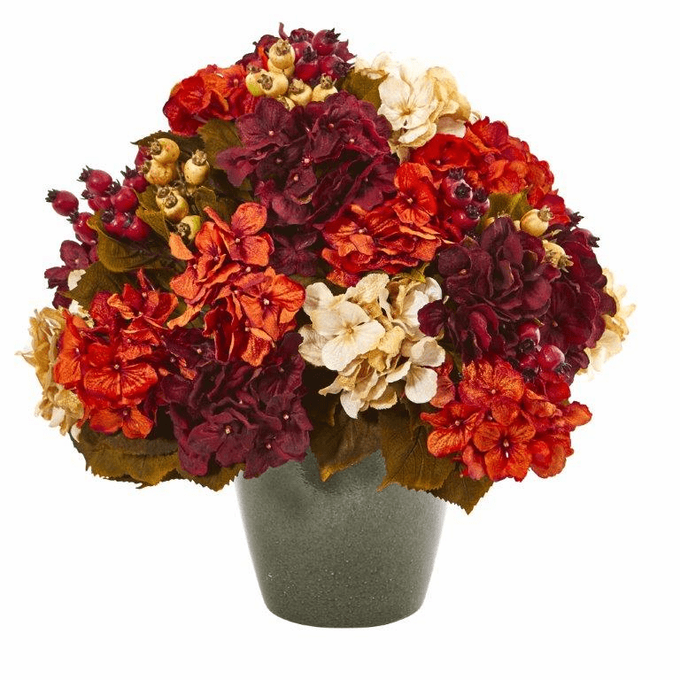 20� Autumn Hydrangea Artificial Arrangement in Green Vase