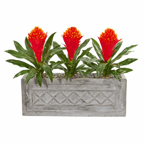 "20"" Bromeliad Artificial Plant in Stone Planter"