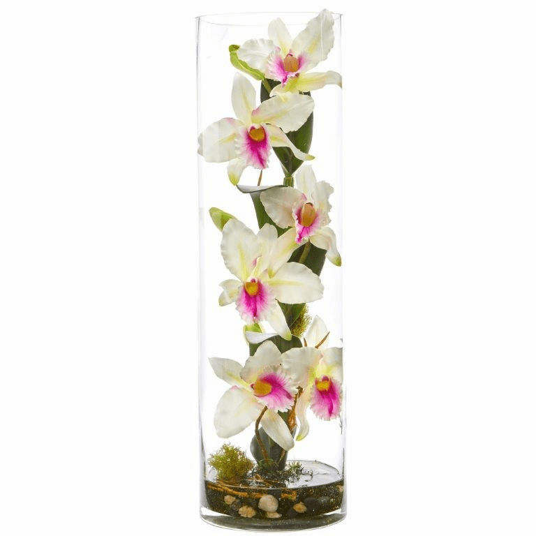 20�� Cattleya Orchid Artificial Floral Arrangement in Cylinder Vase - White