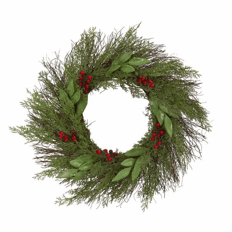 20� Cedar and Ruscus with Berries Artificial Wreath -