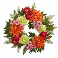 "20"" Dahlia Wreath Silk Flower Arrangement"