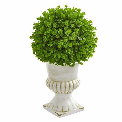 "20"" Eucalyptus Artificial Ball Topiary in White Ceramic Urn"
