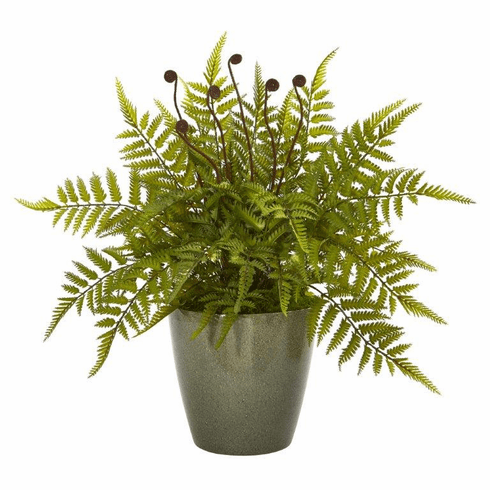 "20"" Fern Artificial Plant in Olive Green Planter"
