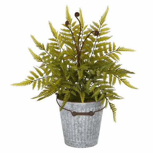 "20"" Fern Artificial Plant in Vintage Metal Bucket"