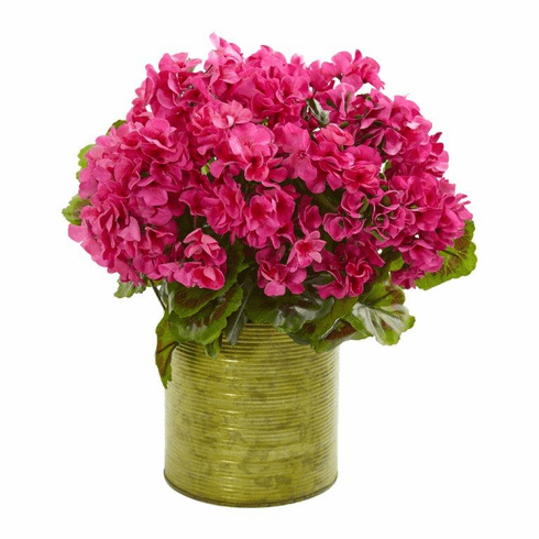 "20"" Geranium Artificial Plant in Metal Planter UV Resistant (Indoor/Outdoor) - Beauty"