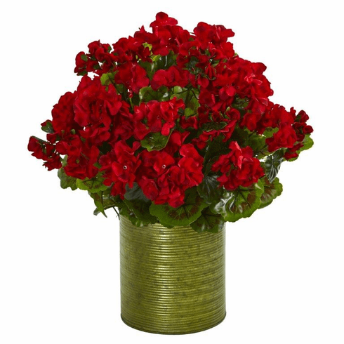 "20"" Geranium Artificial Plant in Metal Planter UV Resistant (Indoor/Outdoor) - Red"