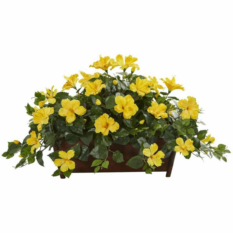 "20"" Hibiscus Artificial Plant in Decorative Planter - Yellow"