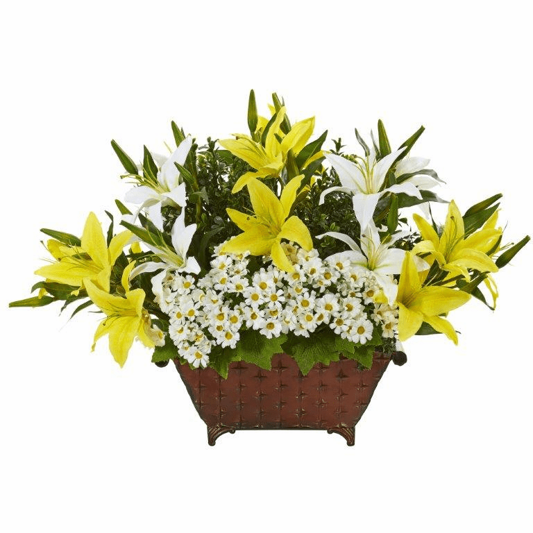 20� Lilly and Daisy Artificial Arrangement in Metal Planter