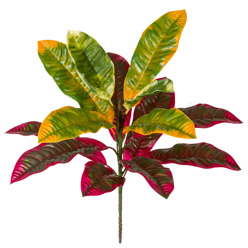 "20"" Polyblend Outdoor UV Infused Red & Green Croton Artificial Plant - Set of 6"