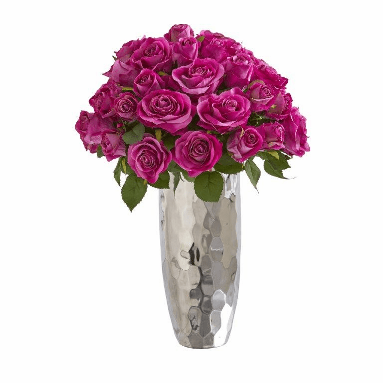 20� Rose Artificial Arrangement in Silver Vase - Purple
