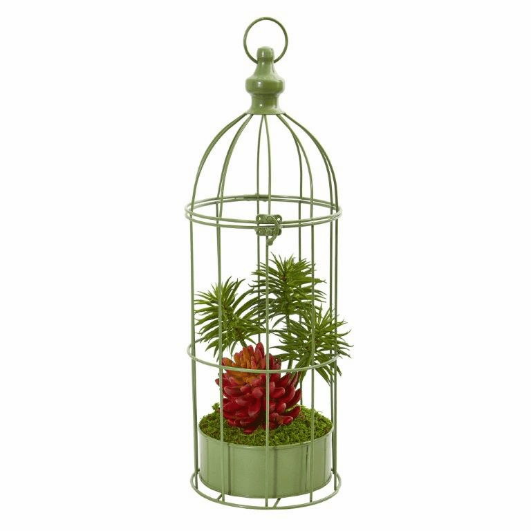 20� Succulent Artificial Plant in Decorative Cage