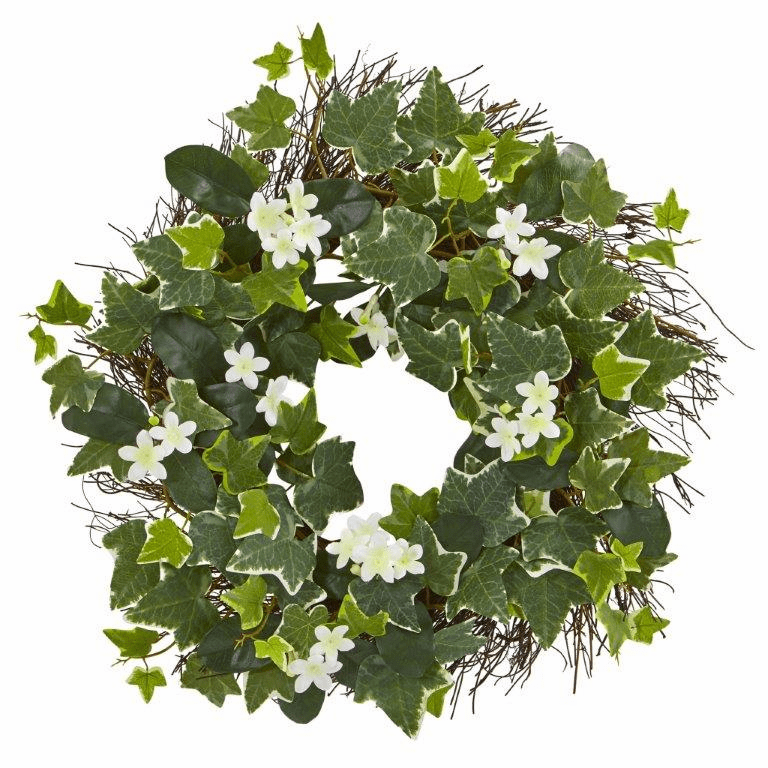 20� Variegated Sage Ivy and Stephanotis Artificial Wreath