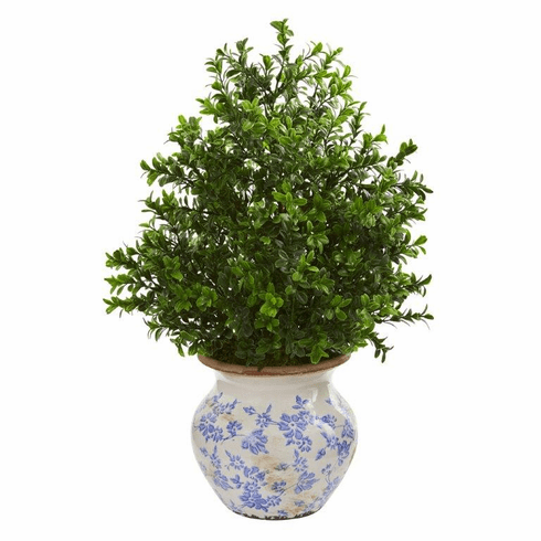 "21"" Boxwood Artificial Plant in Decorative Vase (Indoor/Outdoor)"