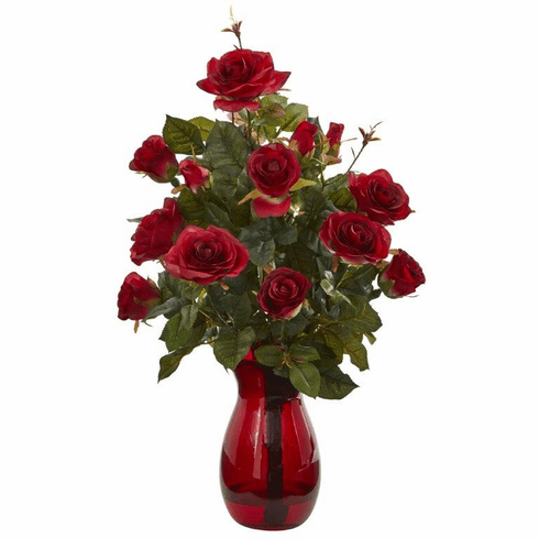 "21"" Garden Rose Artificial Arrangement in Red Vase - Red"