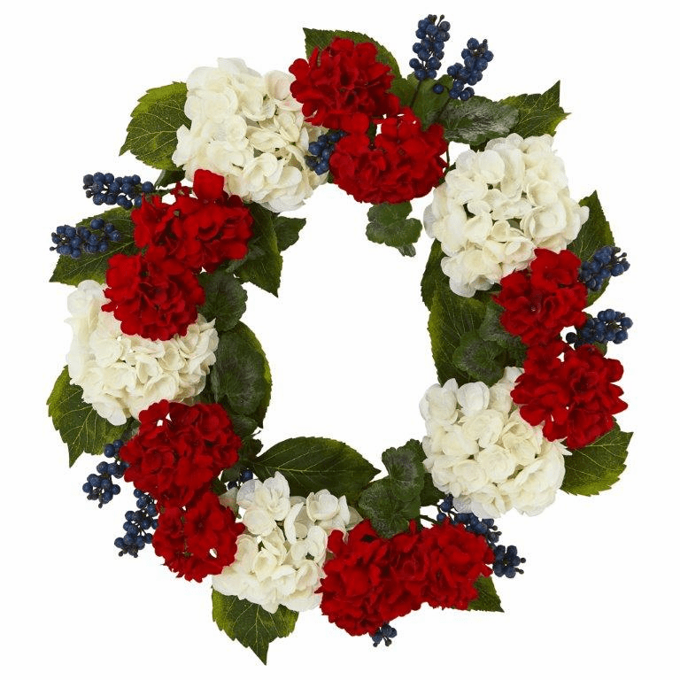 21� Geranium and Blue Berry Artificial Wreath