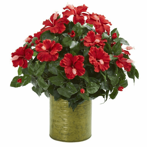 "21"" Hibiscus Artificial Plant in Metal Planter"