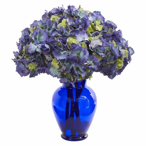 "21"" Hydrangea Artificial Arrangement in Blue Vase - Blue"