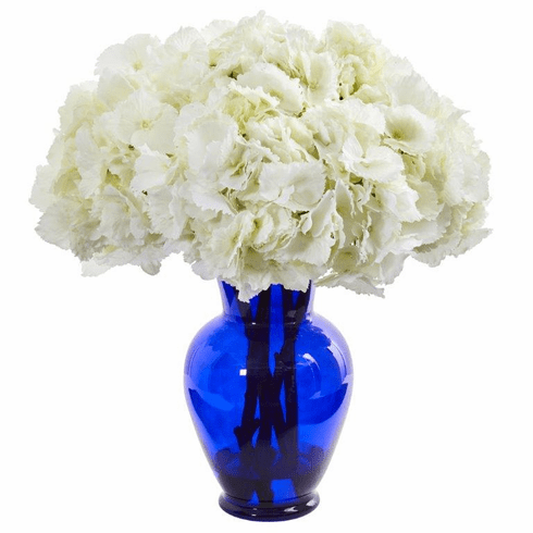 "21"" Hydrangea Artificial Arrangement in Blue Vase - White"