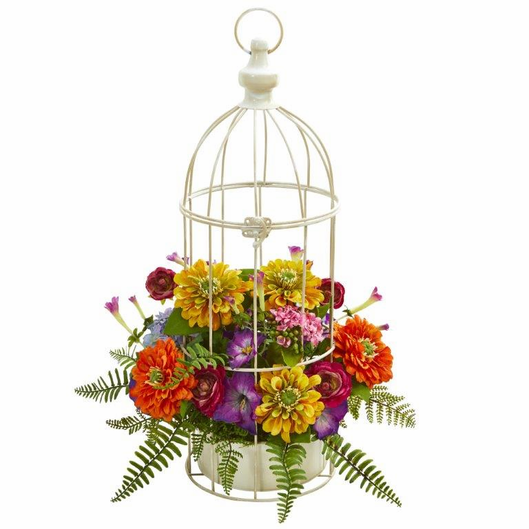 "21"" Mix Flower Artificial Arrangement in Birdcage"