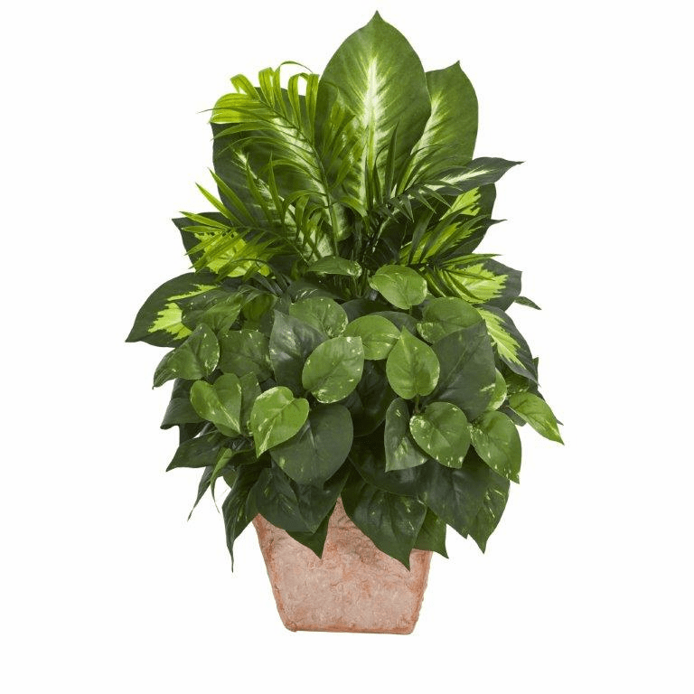 "21"" Mix Greens Dish Garden Artificial Plant in Terracotta Planter"