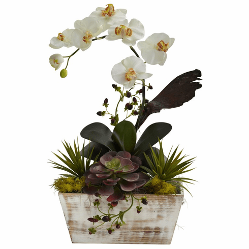 "21"" Orchid & Succulent Garden with White Wash Planter"