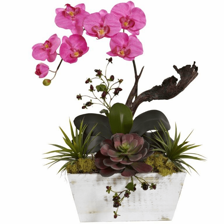 "21"" Orchid & Succulent Garden with White Wash Planter - Dark Pink"